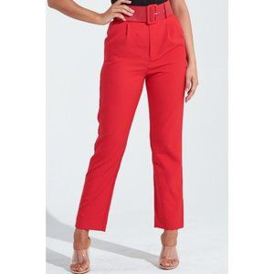 Red High Waist Belted Cropped Ankle Straight Pants